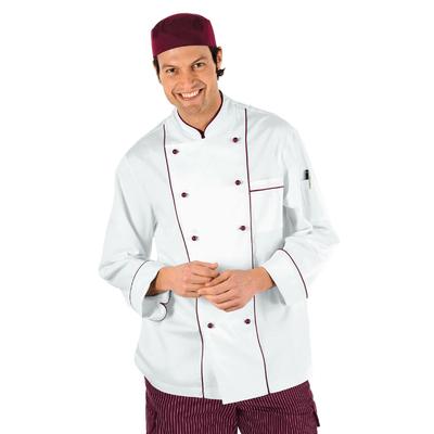 Veste Chef Cuisinier Blanc et Bordeaux - 059003.jpg