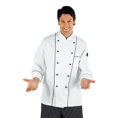 Veste de Chef Cuisinier a Boutons Blanc Noir - 059100.jpg