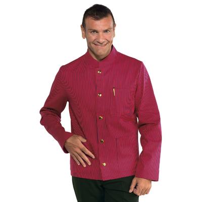 Veste Homme Col Mao Coreana Rouge Raye Noir 100% Coton - 065011.jpg