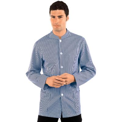 Veste Homme Col Mao Coreana Blanc Raye Bleu 100% Coton - 065002.jpg
