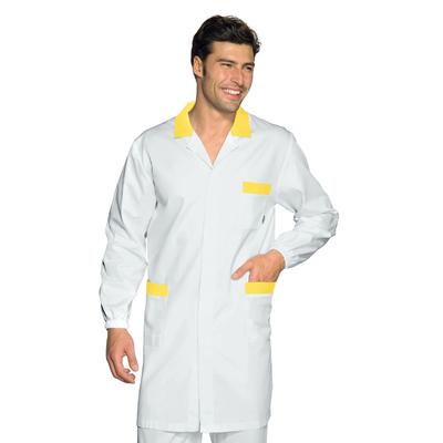 Blouse Medicale Homme Toronto Blanc Jaune 100% Coton - 061314.jpg
