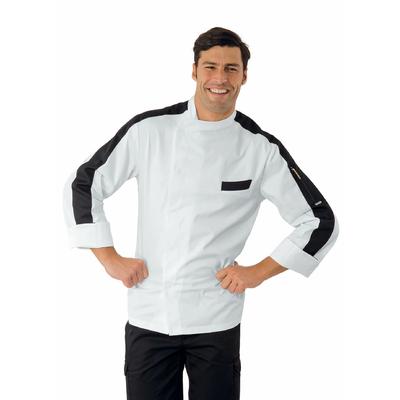 Veste Chef Cuisinier Manhattan Blanc et Noir 100% Coton - 059501.jpg