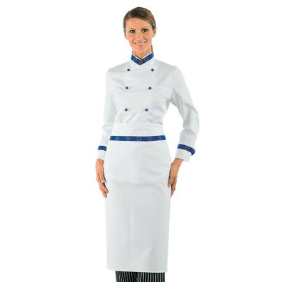 Veste de cuisine Femme blanche boutons bleu Col Euro 100% Coton - 057599.jpg