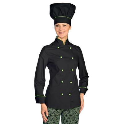 Veste de Cuisine Femme Ultra Leg�re Noir Lisere Vert Pomme - 057526.jpg