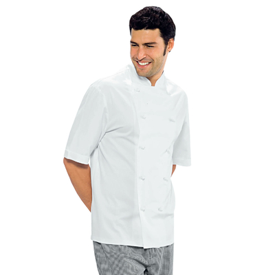 Veste Chef Cuisinier blanche manche courtes Enrica 100% Coton - 057101.jpg