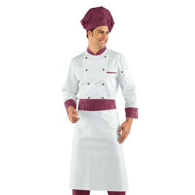 Veste de boucher vienna Blanc et Bordeaux 100% Coton - 057053.jpg