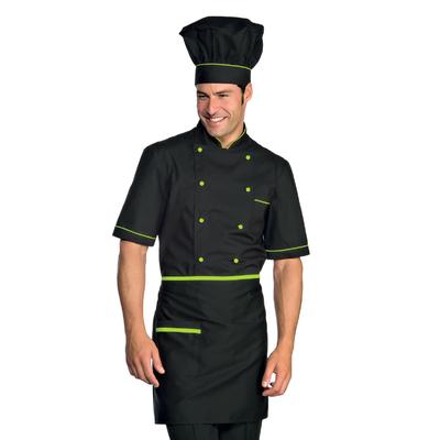 Veste Chef Cuisinier Alicante Noir Vert Pomme - 056926.jpg
