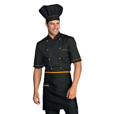 Veste Chef Cuisinier Alicante Noir Abricot - 056913.jpg