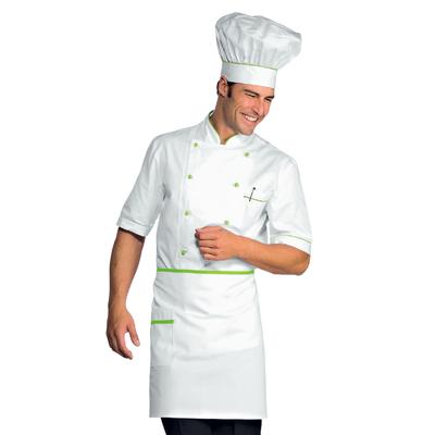 Veste Chef Cuisinier Alicante Blanc Vert Pomme 100% Coton - 056826.jpg