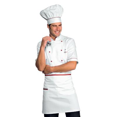 Veste Chef Cuisinier Alicante Blanc Rouge 100% Coton - 056807.jpg