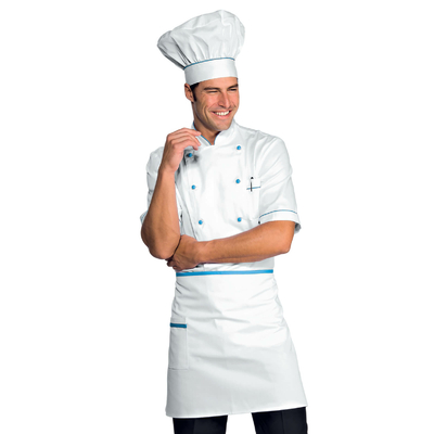 Veste Chef Cuisinier Alicante Blanc Turquoise 100% Coton - 056802.jpg