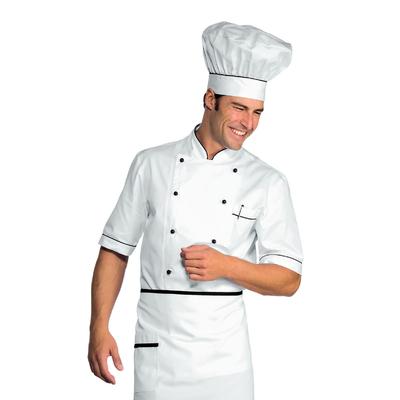 Veste Chef Cuisinier Alicante Blanc Noir 100% Coton - 056801.jpg