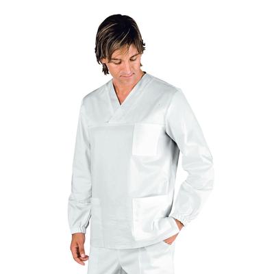 Casaque Medicale Manches Longues lunga Unisexe Blanc 100% Coton - 045900.jpg