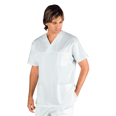 Casaque Medicale Manches Courtes Col en V Mixte Blanc - 045700.jpg