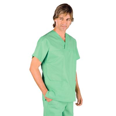 Casaque Medicale Col en V 100% Coton Unisexe Vert Clair - 045049.jpg