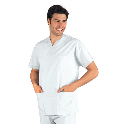 Casaque Medicale Col en V 100% Coton Unisexe Blanc - 045000.jpg