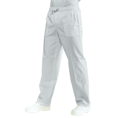 Pantalon Medical Mixte a Taille Elastique  Blanc 100% Coton satine - 044409.jpg