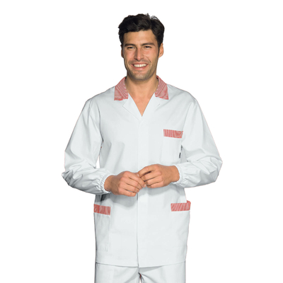 Tunique Medicale Homme Peter Blanc Raye Rouge 100% Coton - 036111.jpg