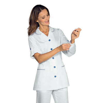 Tunique Medicale Femme Manches Reglable Odessa Blanc Raye Bleu - 012000.jpg