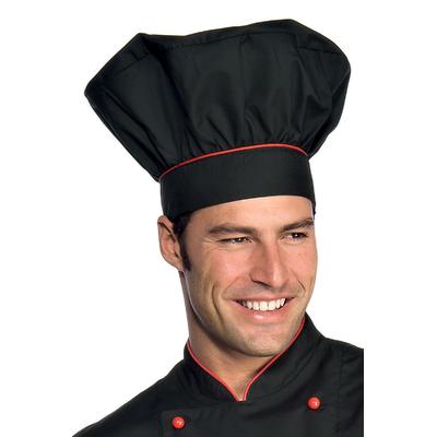 Toque de chef cuisinier  noir rouge - 075207.jpg