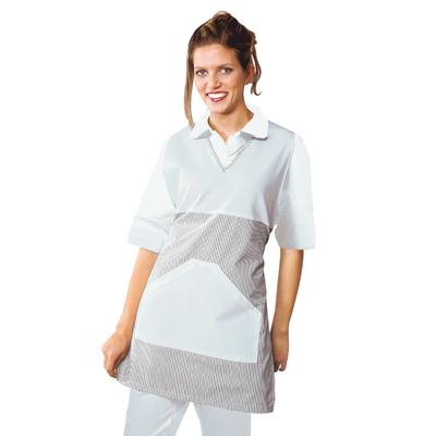 Tablier Medicale Poncho V Blanc Raye Gris - 010101.jpg