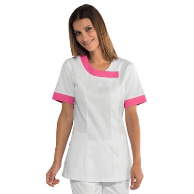 Tunique médicale Delhi blanche et rose fuschia - 005486.jpg