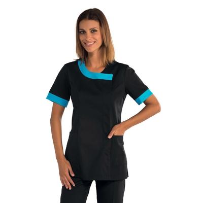 Tunique médicale noire et bleu azur - 005420.jpg