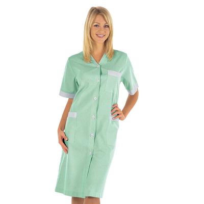 Blouse de Travail Michelle Blanc Rayé Vert 100% Coton - 007124.jpg