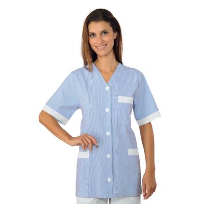 Tunique aide soignane Medina Manches courtes Blanc Rayé Bleu 100% Coton - 006722.jpg