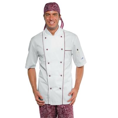 Veste cuisine blanche et bordeaux manches courtes - 059003M.jpg