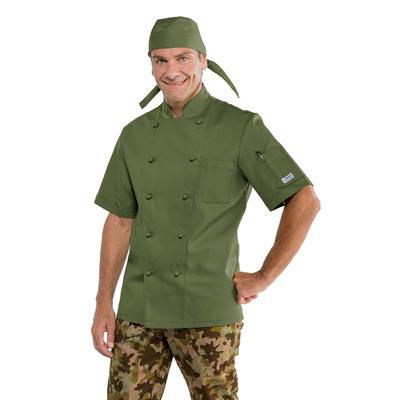 Veste de cuisine vert militaire veste de cuisinier haut - Veste cuisine homme personnalise ...