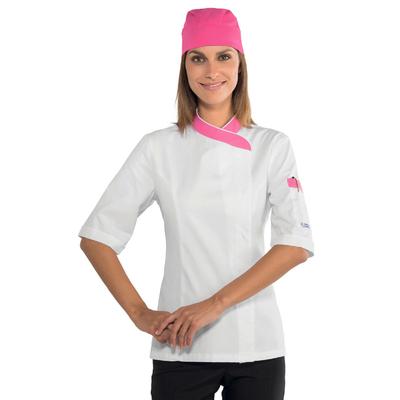 Veste de cuisine Femme 100% coton blanche et rose - 057786M.jpg