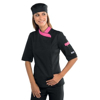 Veste de cuisine Femme manches courtes noire et rose - 057760M.jpg