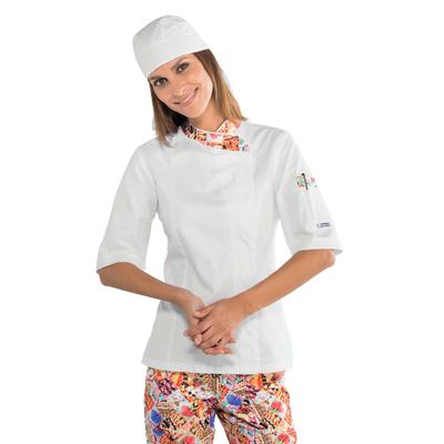 Veste de cuisine Femme blanche à manches courtes 100% coton - 057727M.jpg