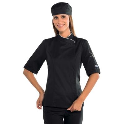 Veste cuisine femme manches courtes noire et blanche - 057721M.jpg