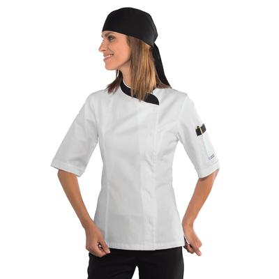 Veste cuisine Femme blanche et noire 100% coton - 057711M.jpg