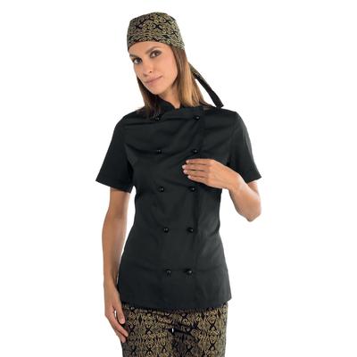 Veste cuisine noire pour Femme Tissu Extra léger - 057531M.jpg