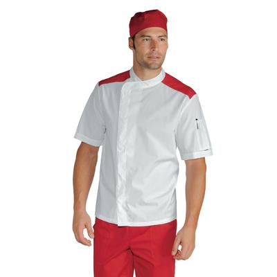Veste de boucher charcutier traiteur Malaga Blanc Rouge 100% Coton - 059907M.jpg
