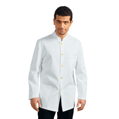 Veste De Service Col Mao Rayé Blanche 100% Polyester - 066200X.jpg