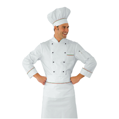 Veste Chef Cuisinier Prestige XXXL Blanc Liseré tricolore 100% Coton - 059000A.jpg