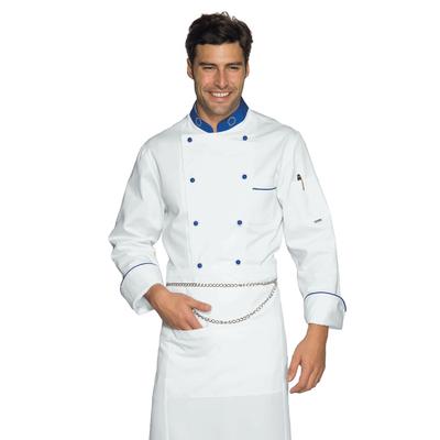 Veste Chef Cuisinier 4XL Euro Blanc Bleu Cyan 100% Coton - 057099B.jpg