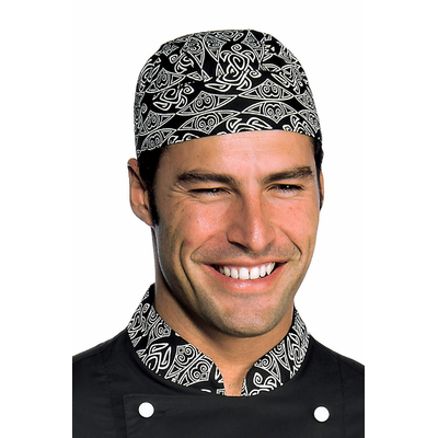 toque bandana cuisine noir blanc coiffes de cuisine bandana de cuisine. Black Bedroom Furniture Sets. Home Design Ideas