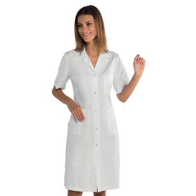 Blouse blanche médicale boutons pression 100% coton
