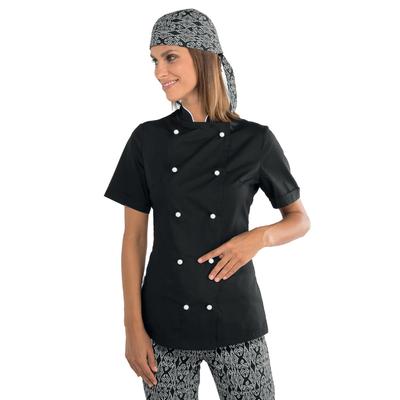 Veste de cuisine noire et blanche pour Femme Tissu extra léger