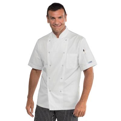 Veste de cuisine blanche manches courtes et boutons pression