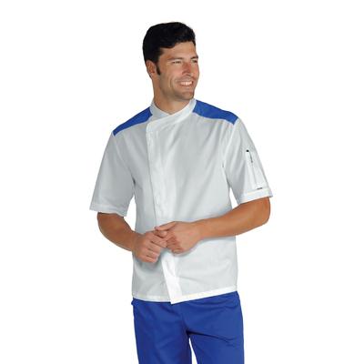 Veste De Cuisinier Malaga Blanc Bleu Cyan 100% Coton