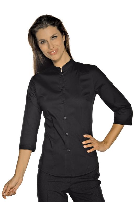 chemise stretch col mao manches 3 4 noir restauration et r ception chemises chemisier. Black Bedroom Furniture Sets. Home Design Ideas