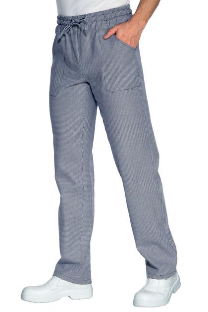 Pantalon cuisinier pied de poule bleu pantalons de for Pantalon pied de poule cuisine