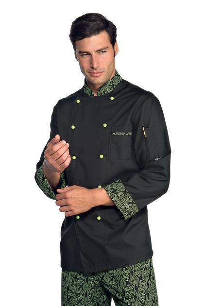 Veste chef cuisinier extralight noir vert vestes de for Cuisinier extra