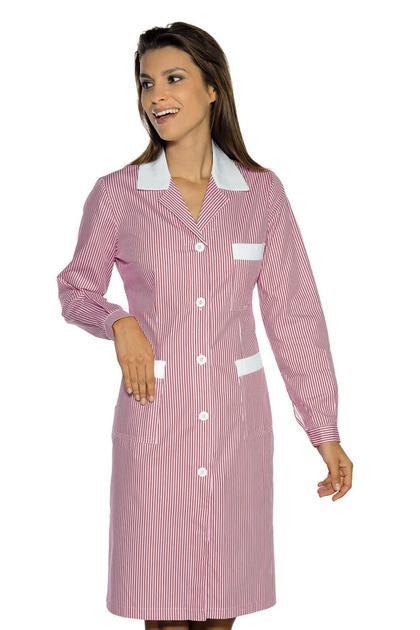 Blouse de travail manches longues positano ray rose blanc hotellerie blouse femme de chambre - Emploi femme de chambre a paris ...